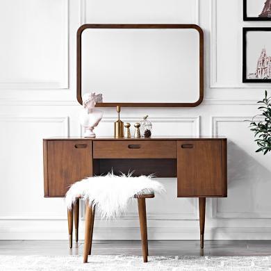 優家工匠 全實木化妝桌北歐奢華現代臥室梳妝臺精致黃銅腳多功能書桌子