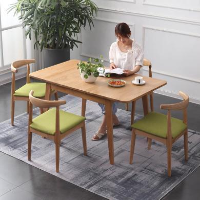 HJMM北歐全實木餐桌椅組合6/8人伸縮折疊簡約現代橡木家具