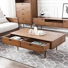 优家工匠 全实木茶几北欧现代奢华客厅电视柜组合家具抽屉收纳置物茶桌