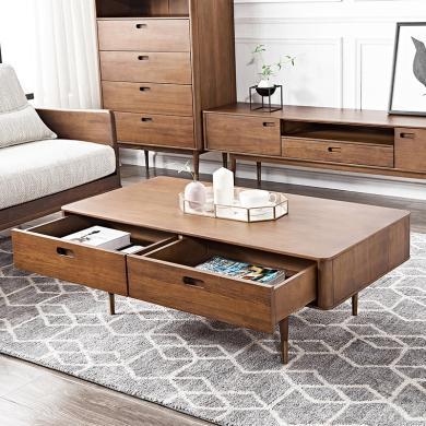 優家工匠 全實木茶幾北歐現代奢華客廳電視柜組合家具抽屜收納置物茶桌
