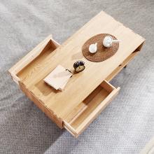 优家工匠 ?#30340;?#38271;方形茶几北欧小户型原木咖啡?#20848;?#32422;现代橡木客厅茶桌