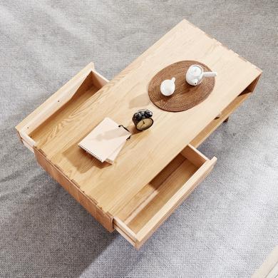 優家工匠 實木長方形茶幾北歐小戶型原木咖啡桌簡約現代橡木客廳茶桌