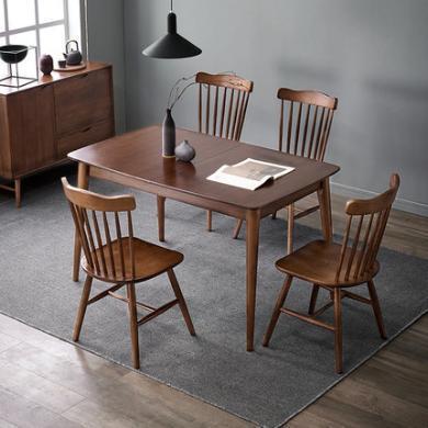 北歐輕奢實木伸縮餐桌現代簡約折疊飯桌餐桌椅組合餐廳家具