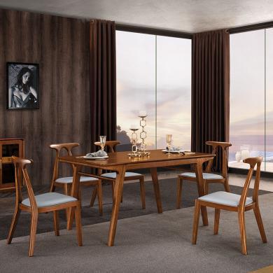 HJMM餐桌新中式全实木餐桌椅组合简约餐厅家用饭桌北欧轻奢黑胡桃木桌子