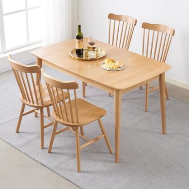 優家工匠 北歐實木伸縮餐桌現代簡約小戶型家用長方形飯桌子餐廳家具