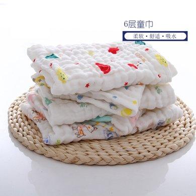 六層水洗紗布方巾~五條裝~顏色隨機~