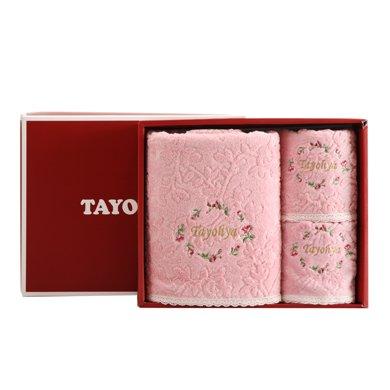 TAYOHYA多樣屋花園玫瑰毛巾禮盒純棉柔軟方巾面巾浴巾套裝