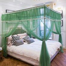 DreamHome 新款唯美公主风宫廷落地不锈钢三开门1.8m双人床家用双层蚊帐