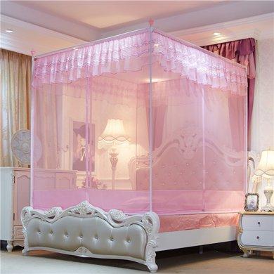 米卡多蚊帳三開門全底外穿桿坐床式方頂雙人1.8m1.5米拉鏈式1.2床8812款全底外穿桿坐床式蚊帳