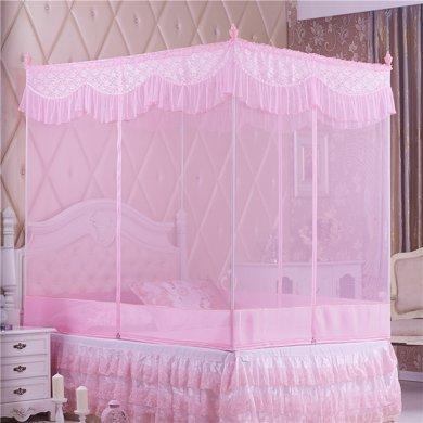 米卡多蚊帳三開門方頂拉鏈回底坐床式1.5米1.8m床雙人家用蚊帳8038款回底坐床式蚊帳