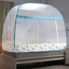 品卧家纺 一体式方顶蒙古包蚊帐免安装1.8m夏季双人家用1.2折叠有底1.5m床坐床式双开门 铃兰雨