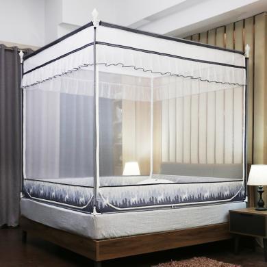 米卡多8829款坐床式蚊帐家用三开门1.8m床1.5m拉链免安装大学生加密加厚