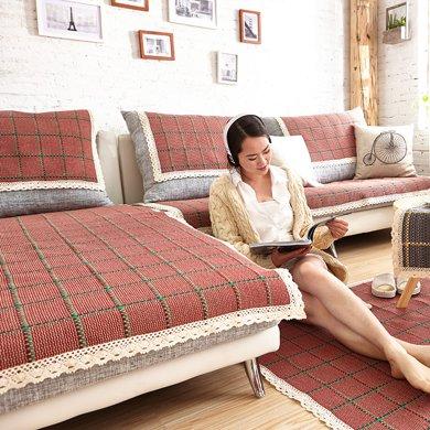 芒更家纺 极有家风格棉麻沙发垫-布拉格广场红