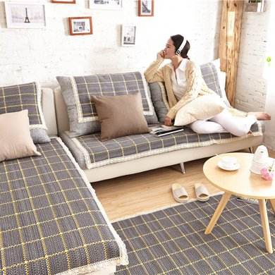 芒更家纺 极有家风格棉麻沙发垫-布拉格广场蓝