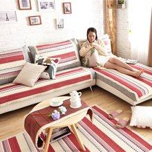 芒更家纺 极有家风格棉麻沙发垫-香格里拉红