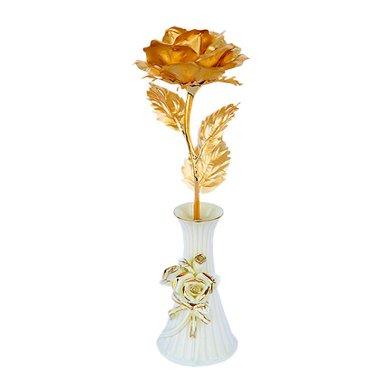 金箔玫瑰+陶瓷花瓶-金箔玫瑰 送女友送愛人禮物 結婚紀念禮物元旦/圣誕節包裝禮盒生日禮物