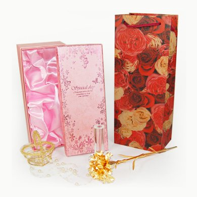 金箔康乃馨+水晶花瓶----送母親禮物,金箔康乃馨,水晶花瓶元旦/圣誕節包裝禮盒生日禮物