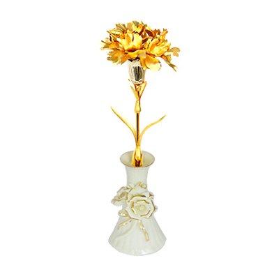 金箔康乃馨+陶瓷花瓶----金箔康乃馨 送母親送長輩禮物元旦/圣誕節包裝禮盒生日禮物