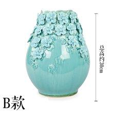 墨菲多款入欧式手工陶瓷花瓶 客厅博古架电视柜摆件仿真花艺套装