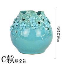 墨菲地中海手工陶瓷花瓶客厅装饰摆件简约现代仿真花艺套装插花器