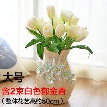 墨菲手工奢华珍珠釉陶瓷花瓶 欧式简约客厅装饰品摆件插花艺套装