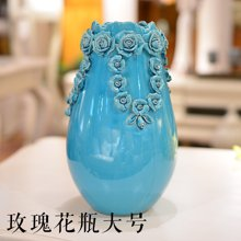 墨菲 歐式手工冰裂釉陶瓷花瓶 創意現代客廳裝飾擺件插花藝套裝