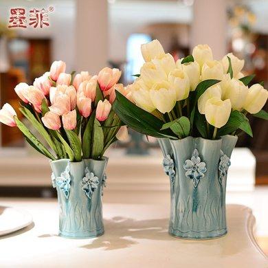 墨菲欧式手捏陶瓷花瓶 创意客厅摆件简约装饰干花郁金香仿真花艺
