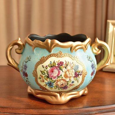 墨菲美式復古陶瓷花瓶裝飾花盆擺件歐式餐桌客廳仿真干花藝插花器