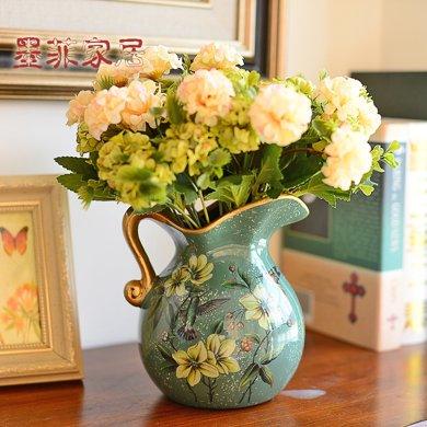 墨菲歐式田園復古陶瓷花瓶美式鄉村客廳裝飾擺件仿真花干花插花器