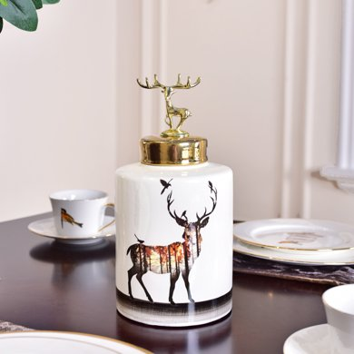 墨菲 家居樣板房陶瓷儲物罐花瓶擺件 現代創意客廳玄關裝飾品擺設
