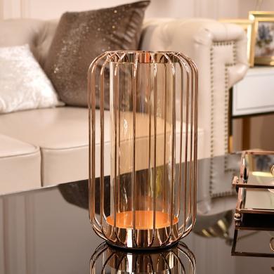 DEVY美式燭臺擺設 歐式客廳餐桌裝飾品干花仿真花插花器花瓶擺件