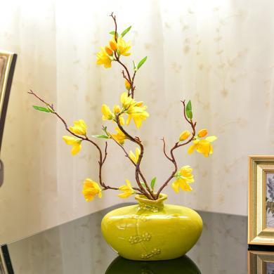 DEVY新中式冰裂釉陶瓷花瓶客廳餐桌仿真花干花插花器家居裝飾擺件