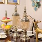 DEVY歐式玻璃花瓶美式客廳餐桌家居電視柜裝飾品仿真花插花器擺件