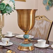 DEVY 歐式美式家居客廳創意醒酒桶擺件新古典金屬花瓶花藝套裝