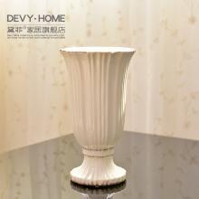 DEVY 簡約現代白色陶瓷花瓶 北歐式客廳干花插花器裝飾擺件