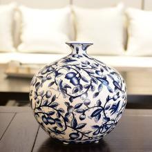 墨菲新中式青花瓷水培花瓶客廳玄關電視酒柜仿真花藝插花器擺件