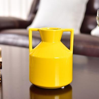 DEVY現代簡約陶瓷花瓶客廳餐桌仿真花插花藝小清新花器裝飾品擺件