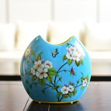 墨菲新中式陶瓷鮮花水培花瓶美式鄉村客廳樣板房軟裝飾插花器擺件