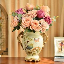 墨菲欧式田园复古双耳陶瓷大花瓶花艺套装美式创意客厅摆件插花器