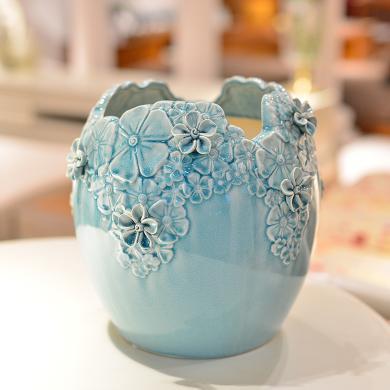墨菲手工浮雕陶瓷花瓶 大号北欧现代简约创意客厅装饰摆件插花器
