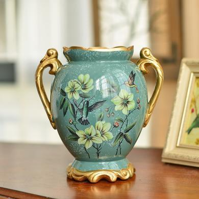 墨菲 歐式陶瓷小花瓶擺件客廳復古美式田園創意餐桌面干花插花器
