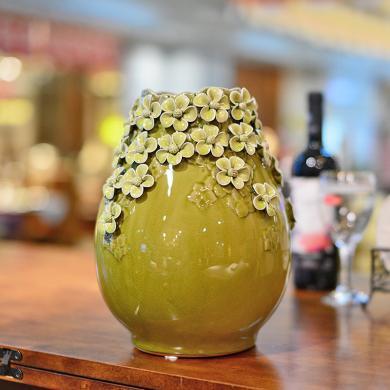 墨菲歐式手工陶瓷插花瓶 創意客廳簡約裝飾擺件美式綠色仿真花藝