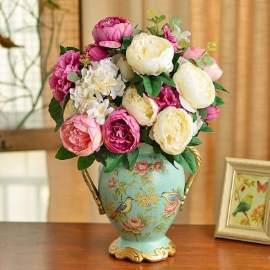 墨菲歐式田園陶瓷花瓶 美式擺件客廳家居裝飾結婚禮物干花插花藝