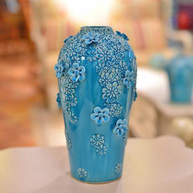墨菲 手工冰裂釉陶瓷花瓶 歐式創意簡約客廳插花器家居裝飾品擺件
