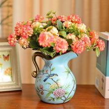 墨菲 美式鄉村復古陶瓷花瓶歐式田園創意客廳裝飾擺件干花插花器