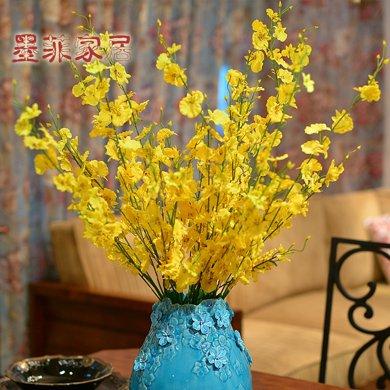 墨菲 跳舞蘭仿真花 歐式裝飾干花蘭花絹花美式插花瓶假花藝