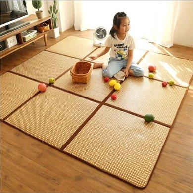 日式折疊拼接地墊夏天藤席榻榻米涼席臥室寶寶地毯兒童拼圖爬行墊