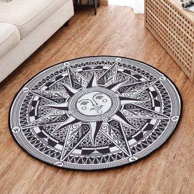歐美個性圓形防滑吸水圓形地毯家用客廳茶幾吊籃地墊臥室電腦椅墊