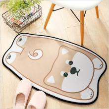 ins卡通动物造型家居地毯地垫 家用法兰绒玄关浴室门口吸水防滑垫