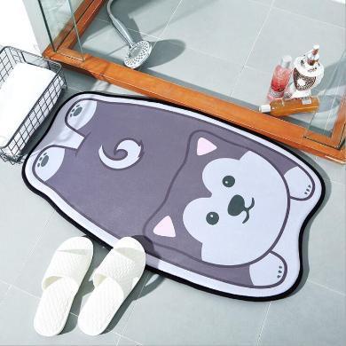 ins卡通動物造型家居地毯地墊 家用法蘭絨玄關浴室門口吸水防滑墊